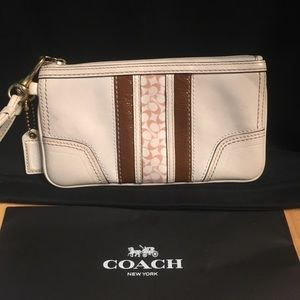 Coach Rare white leather stripe brown wallet case